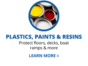 plastics, paints & resins | protect floors, decks boat ramps & more | learn more